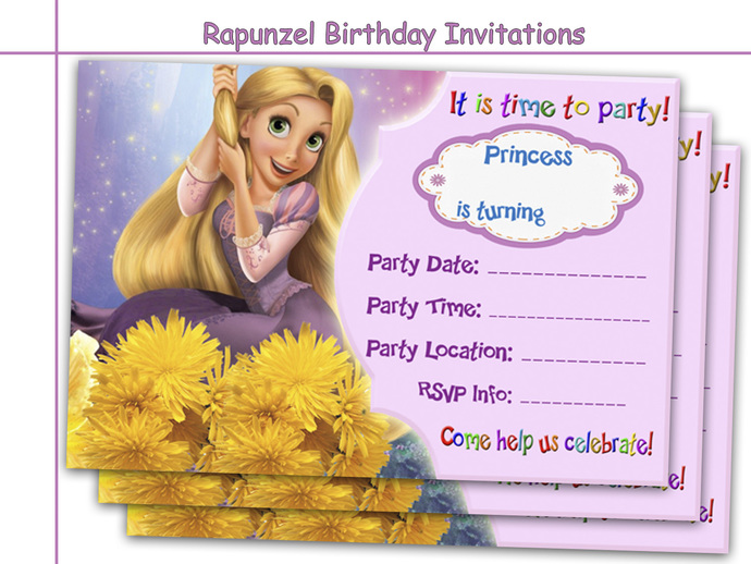 Amazing Rapunzel Birthday Invitations by HolidayPartyStar on Zibbet – Toddler Girl Birthday Invitations
