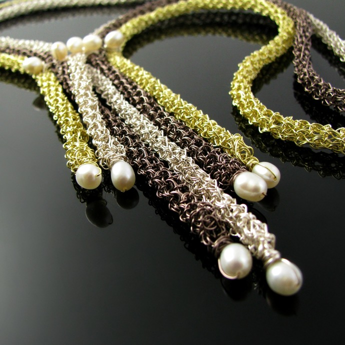 Multi-color wire crochet rope necklace with white freshwater pearls