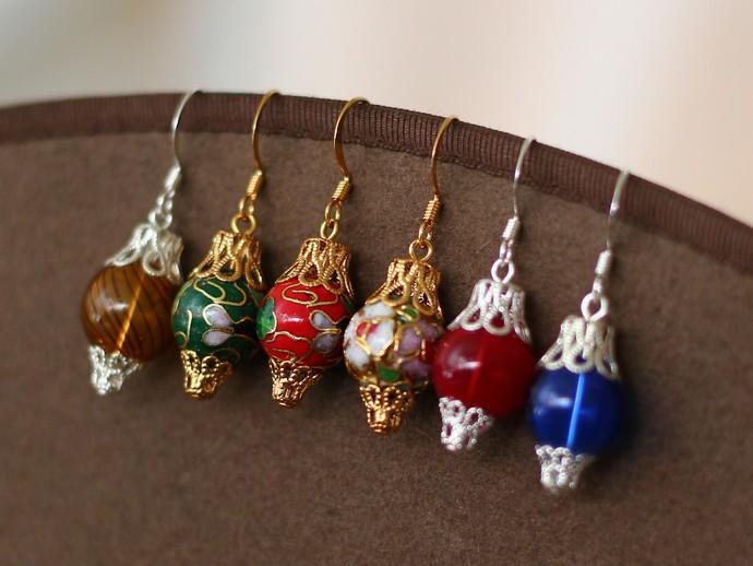 Ornament earrings cloisonne floral silver