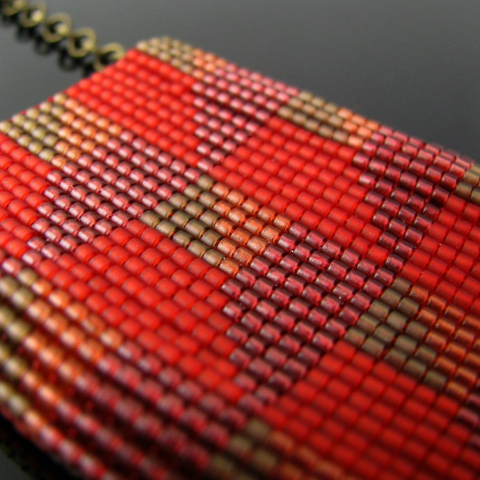 Bead loomed slider necklace red and brown floor tile