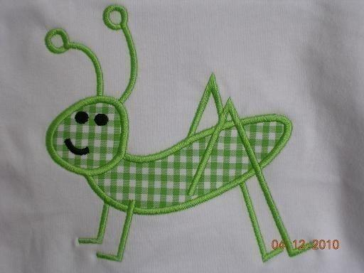 Simple Grasshopper Applique Machine Embroidery Design