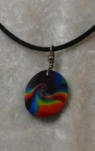 Rainbow Swirled Lentil Pendant