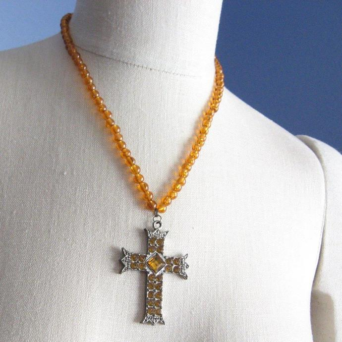 Vintage Amber Acrylic Beaded Large Cross Necklace Amber Glass Stones Madonna 80s