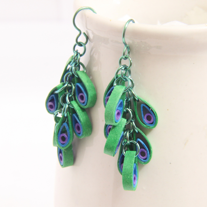Peacock cluster earrings with hypoallergenic niobium findings - modern paper