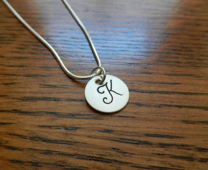 """Monogram Pendant - Hand Stamped 1/2"""" Sterling Silver, Hand Stamped Jewelry,"""