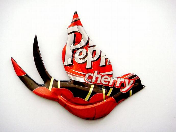 Cherry dr pepper Soda Can Sparrow Brooch