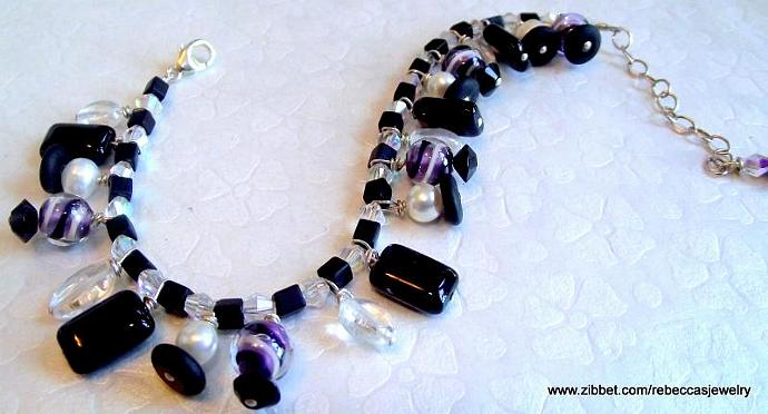 Purple Swirl Bracelet ~ Black Czech Glass, Fresh Water Pearls, Glass Beads,