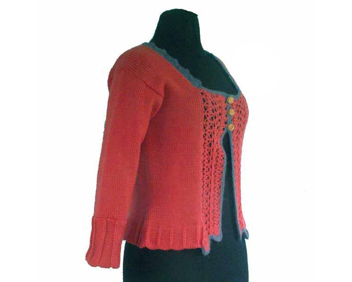 Sweetened Tangerine Cardigan Wool Sweater, Size Medium