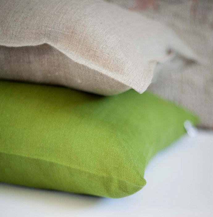 3 Linen pillow covers gray black and green 14x14 inch size- decorative covers -