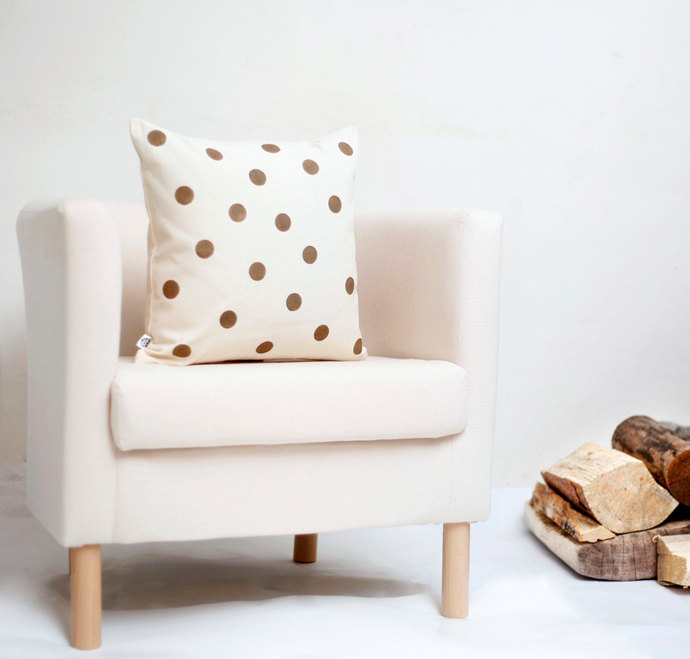 Decorative pillow cover golden polka dots hand printed on cotton canvas size