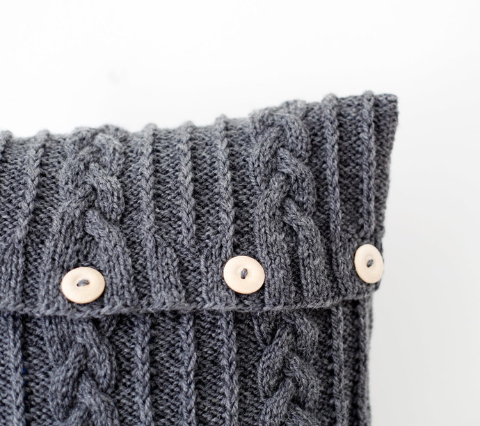 Knitted dark gray  pillow cover - aran design cable knit decorative cushion
