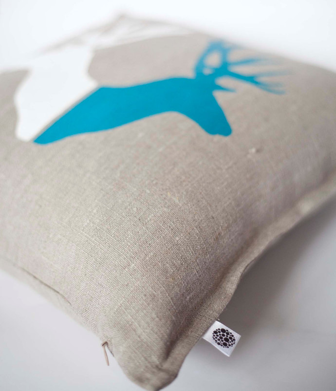 Deer print pillow cover hand painted on gray linen 14x14 inch- pillow case