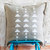 Geometrical decorative gray linen pillow cover hand painted - modern white