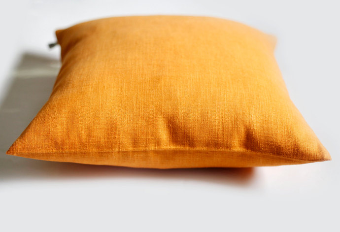 Yellow pillow cover 16x16 inch size - throw pillows - spring celebration linen