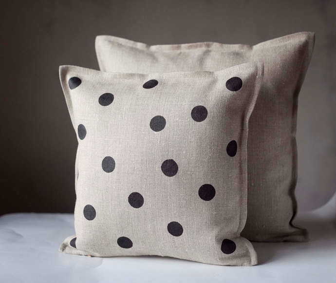 Polka dots on gray linen pillow 16x16 inch size - linen decorative pillow cover