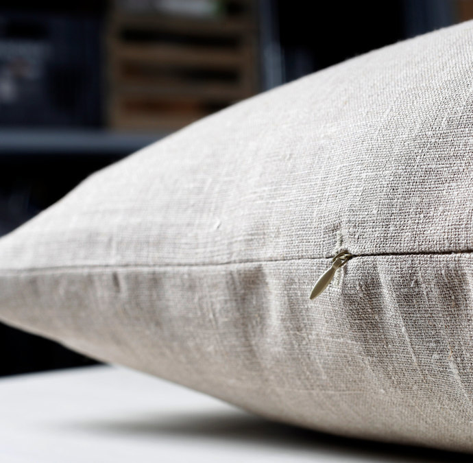 Lumbar pillow cover-gray natural linen fabric - eco friendly pillows throw-size