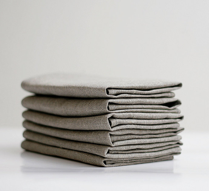 Linen napkin set of 12 - natural linen - 12x12 inch size - 0233