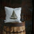Accent pillow for sofa - Boat print on gray linen pillow cover hand painted -