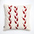Red ornament on decorative pillow cover - pattern hand printed on cotton canvas