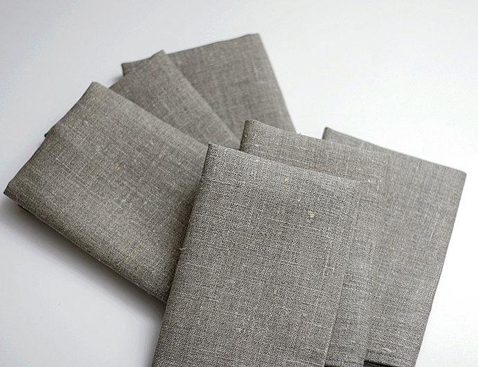 Linen napkin set of 12 - gray cloth napkins -  18x18 inch size