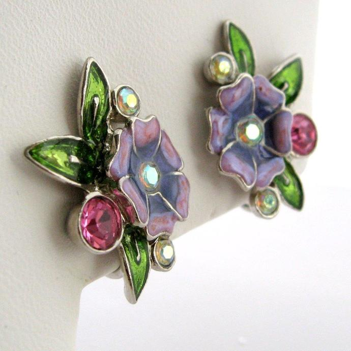 Vintage Earrings Floral Enamel Rhinestone Silver Tone Green Raspberry Purple