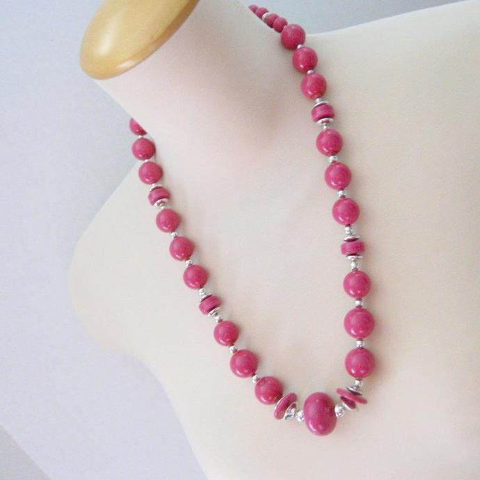 Vintage Raspberry Pink Large Bead Bauble Necklace 80s Silver Tone 27 Inch