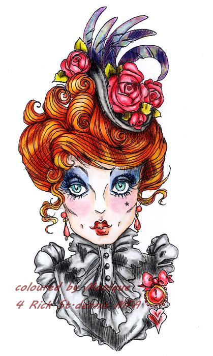 "Shady Ladies ""Miss Midnight's Flirty Feathers"" digi stamp"