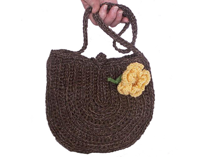 Crocheted Purse with Yellow Flower