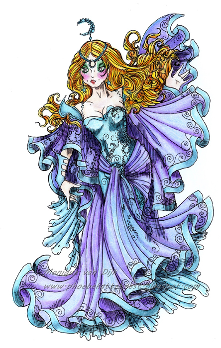 The GODDESS of Moonlight on Evening Fog digi stamp