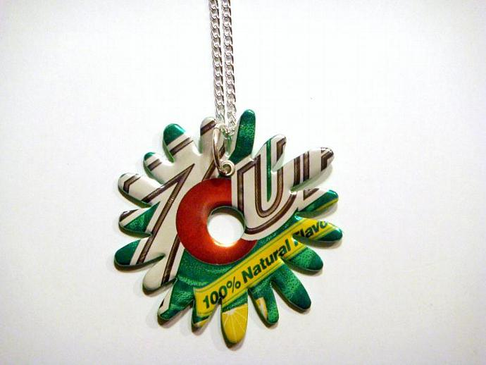 7up Soda Can Flower Burst Necklace