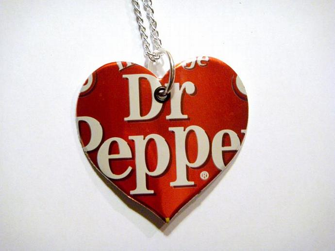 Heritage Dr Pepper Soda Can Heart Necklace