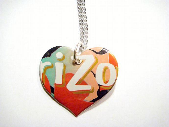 Peach arizona tea Soda Can Heart Necklace