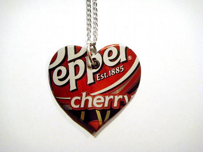 Cherry dr pepper Soda Can Heart Necklace