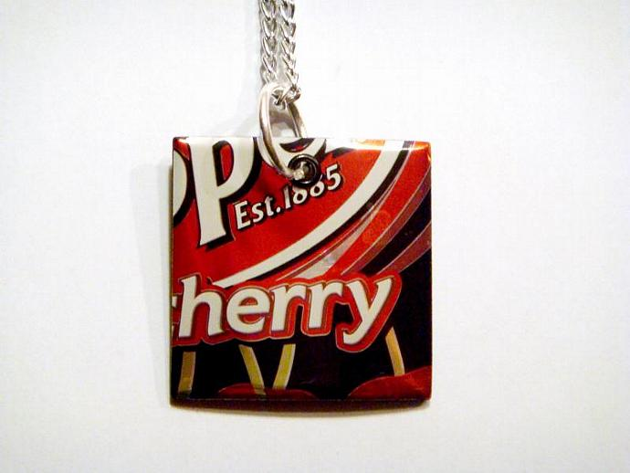 Cherry dr pepper Soda Can Square Necklace