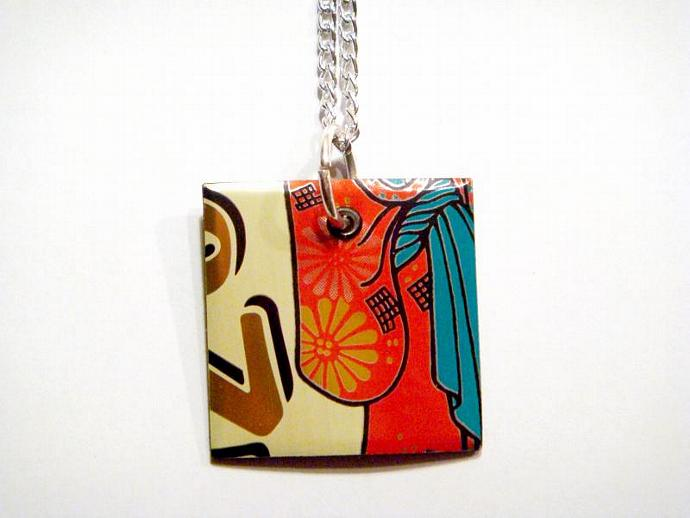 Diet Arizona Tea Soda Can Square Necklace