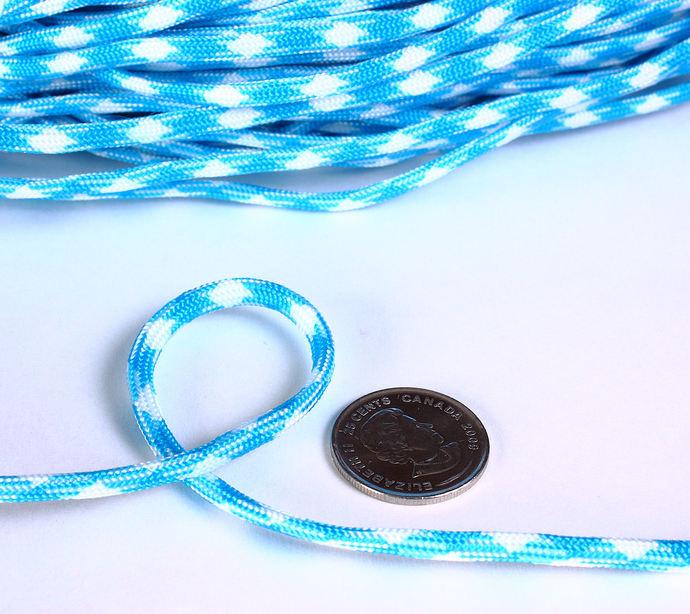 4mm Blue white parachute cord - rope - Paracord - Para cord - 10 feet / 3 meters