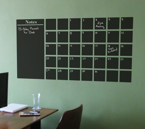 "Chalkboard Calender Wall Decal with Extra Note Panel - 25"" tall x 48"" wide"
