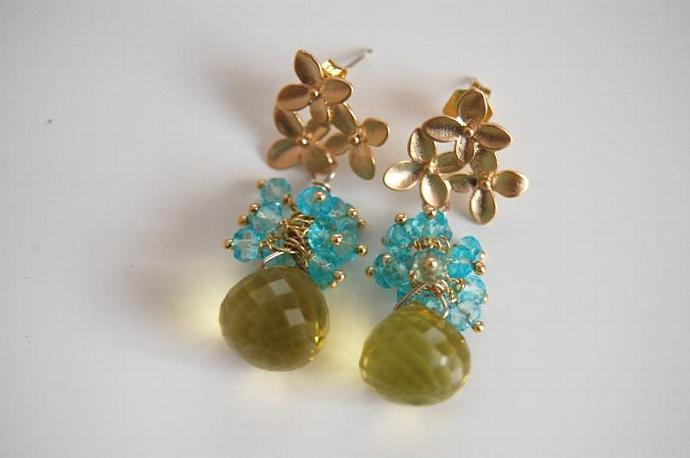 AAA green lemon quartz and sky blue quartz earrings