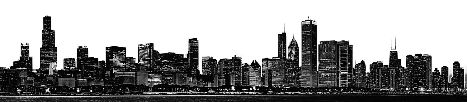 Chicago Skyline Large Vinyl Wall Graphic WilsonGraphics - Custom vinyl decals chicago