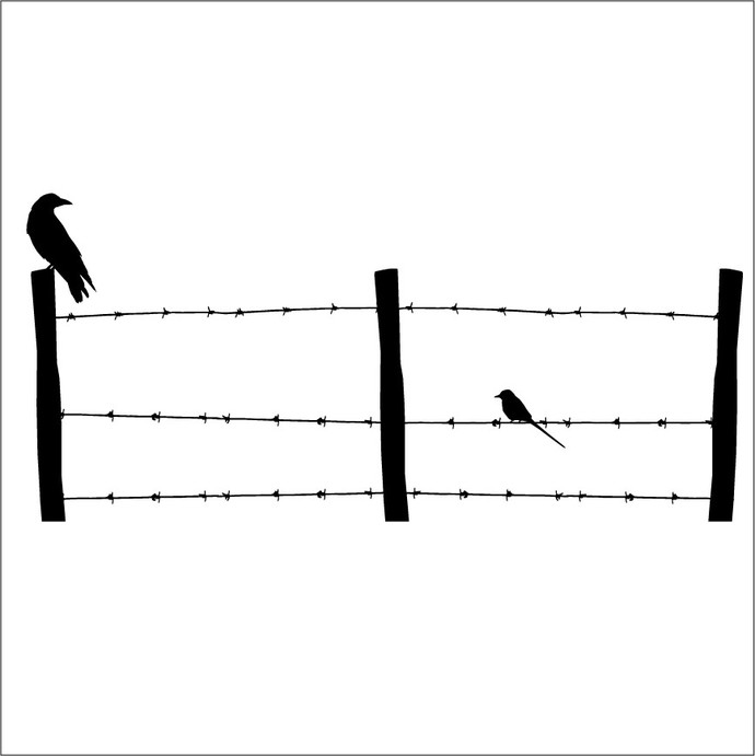 Large Barb Wire Fence With Birds Wall Decal