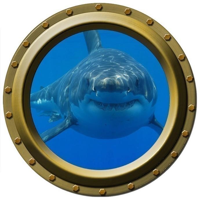 Large Hungry Shark Porthole Wall Decal