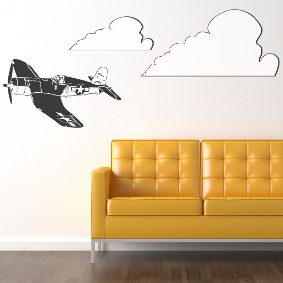 FU Corsair Airplane And Clouds Vinyl Wall WilsonGraphics - Vinyl wall decals airplane