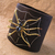 Leather and metal cuff spider bracelet. Arachnid Halloween jewelry