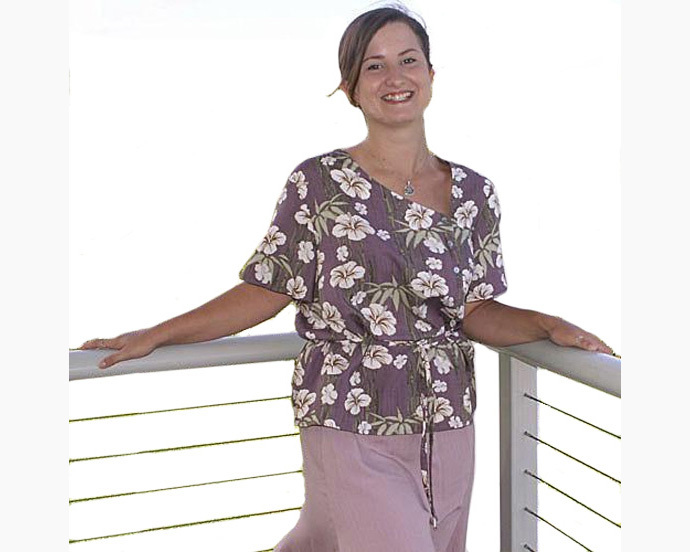 Bamboo and Hibiscus Print Blouse - Sizes M, L