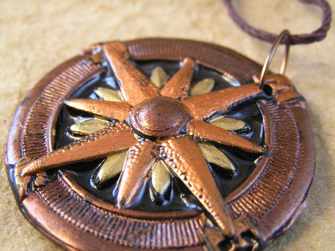 Gold and copper steampunk compass pendant