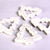 White with silver glitter powder Christmas tree beads 35mm - 4 pieces (1368)