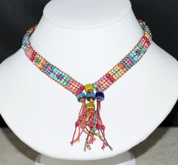 Pastel Loom Woven Checkerboard Necklace