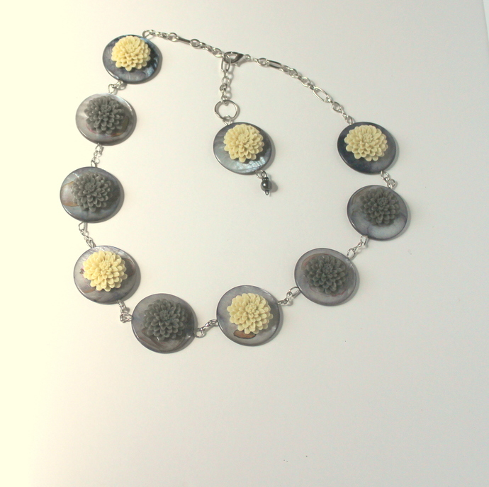 Chrysanthemum Flowers, Flower Beads, Grey Ivory flowers, Shell necklace,
