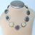 Chrysanthemum Flowers, Flower Beads, Grey Ivory flowers, Shell necklace,