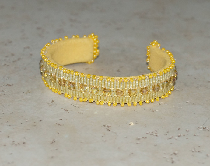 Choice of Pink, Yellow or Turquoise Loom Woven  Beaded Wrist Cuffs